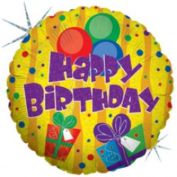 Украшение на праздник с голографией С днем рождения подарок