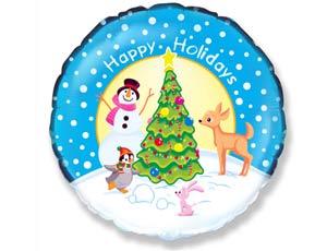 Оформление новогоднего зала шар снеговик у елки