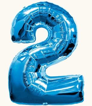 Украшение на праздник шар в виде цифры 2 синий