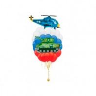Оформление на 23 февраля композиция из шаров парад