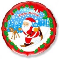 Оформление новогоднего зала шар с рисунком скользящего санты красный