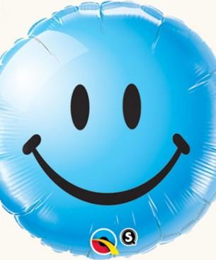 Оформление зала шар фольгированный синий улыбка