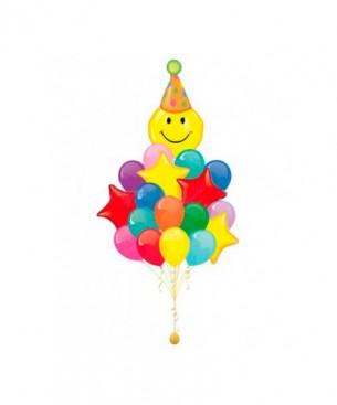 Оформление букетами из шаров разноцветное день рождения