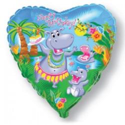 Украшение на праздник шар сердце бегемотик