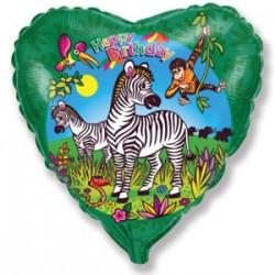 Украшение на праздник в виде сердца с зеброй