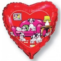Украшение на праздник шар в виде сердца со щенками далматинцев