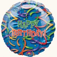 Украшение на праздник С днем рождения шар фольгированный круглый