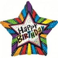 Украшение на праздник звезда с полосами С днем рождения