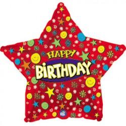 Украшение на праздник с дне рождения звезда красная с конфити