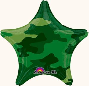 Оформление на 23 февраля звезда камуфляжная фольгированная