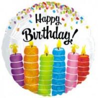 Украшение на праздник разноцветные свечи С днем рождения