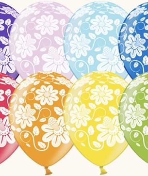 Оформление зала на 8 марта разноцветные шары с ромашкой