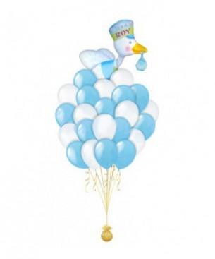 Букет из шаров Аист голубой