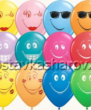 Украшение на праздник шары с разноцветными улыбками