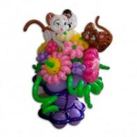 Композиция из шаров Ваза с цветами и котятами