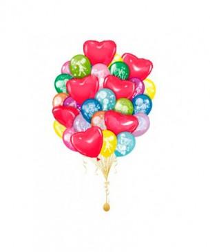 Оформление букетами из шаров I love you