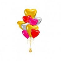 Оформление букетами из шаров разноцветные сердца