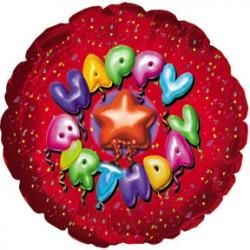 Украшение на праздник круг конфити красный С днем рождения