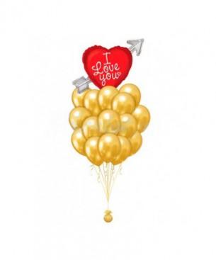 Оформление букетами из шаров признания в любви