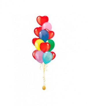 Оформление букето виз шаров классика жанра разноцветные сердечки и круглые