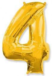 Украшение на праздник цифра 4 золотая