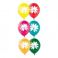 оформление зала на 8 марта шары с рисунком ромашки