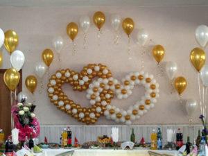 оформление зала воздушными шарами на свадьбу